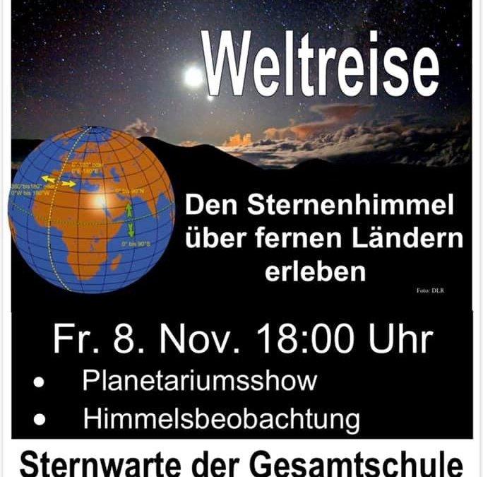 Planetariumsshow und Himmelsbeobachtung in der Sternwarte der Gesamtschule