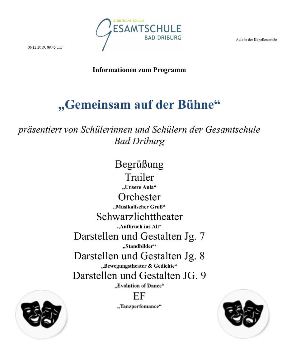 Infos Zum Theatertag Für Grundschulen In Der Gesamtschule