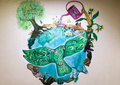 Das Wandgemälde von Frau Kukuk.